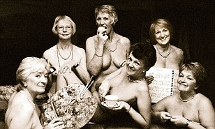 Groups of middle age naked people